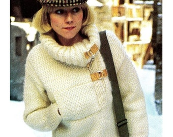 Vintage 70's Knit Sweater - PULLOVER - PDF Pattern - Ladies Knit Sweater UK Pattern