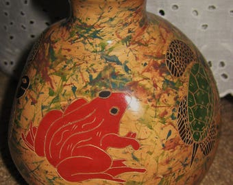 Nicaraguan Pottery-Nature vase-signed- final sale