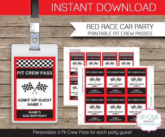 Race Car Party Pit Crew Pass printable insert INSTANT