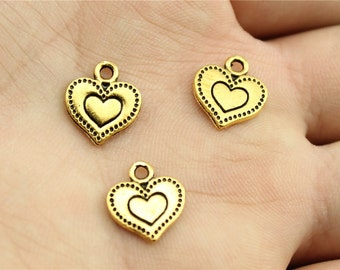 15 Engraved Heart Charms, Antique Gold Tone (1C-187)