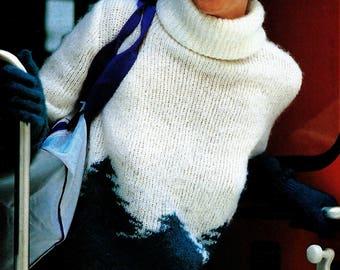 Forest Turtleneck Sweater Vintage Knitting Pattern Instant Download