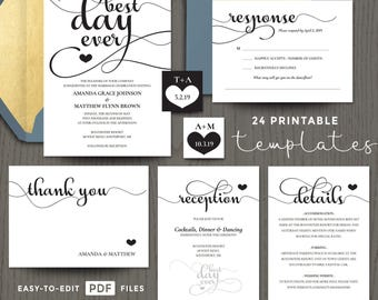 Wedding invitation templates, best day ever, full suite set, printable diy, editable PDF templates, response, thank you, details DIGITAL