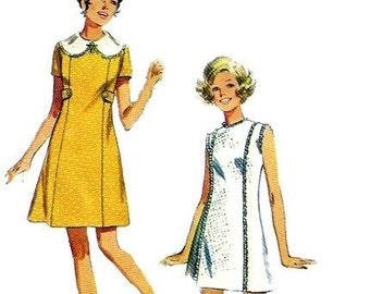 1960s Simplicity 8612 Misses Mod Princess Seam Mini Dress Pattern Womens Vintage Sewing Pattern Size 16 Bust 38