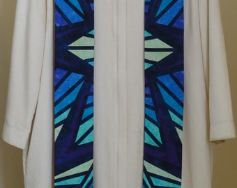 Clergy Stole:   Purple Stained Glass
