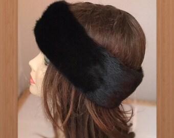 "HE-80 Black Mink Fur Headband 23-25"""