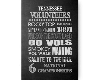 Tennessee Volunteers Chalkboard Poster Digital Download