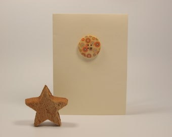 Ivory/Off White Card With Orange Circle Design Wooden Button