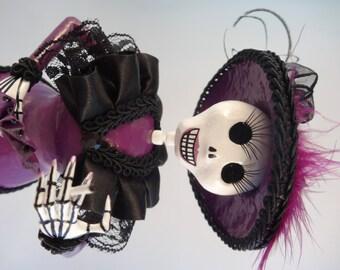 Plum Catrina, handmade Dia de los Muertos Day of the Dead Figure
