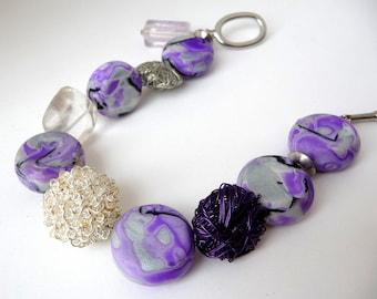 Purple Bracelet Women, Gift Under 30, Quartz Bracelet, Polymer Clay Bracelet, Boho Purple Bracelet, Gift-For-Her, Mokume Gane