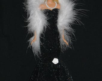 3 Piece Outfit Barbie Doll Dress Handmade Shimmery Black Sheath Dress with Boa and Necklace