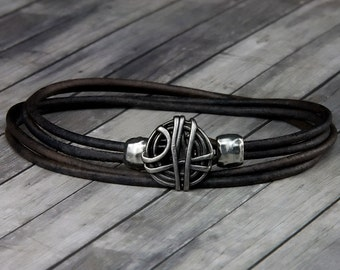 Wire Wrapped Leather Bracelet - Leather Wrap Bracelet - Mens Leather Bracelet - Womens Leather Bracelet - Wire Wrapped Jewelry - Wire Wrap