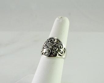 Open Pattern Wide Sterling Ring Size 6.5