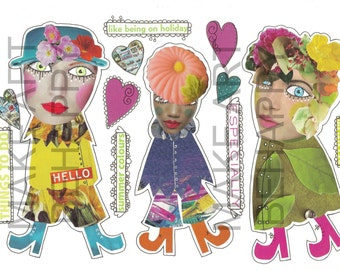Collage sheet, journal sheet, quirky characters, mixed media dolls nr D05