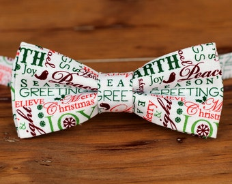 Mens Christmas bow tie - red green holiday words white cotton bowtie, pre tied bow tie for men teen boys, mens bow tie, Christmas gift tie