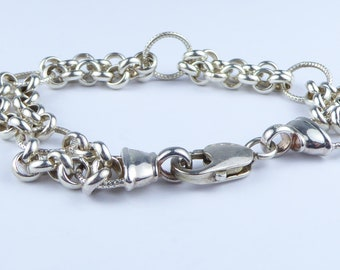 Chunky silver bracelet with double strand belcher chain links