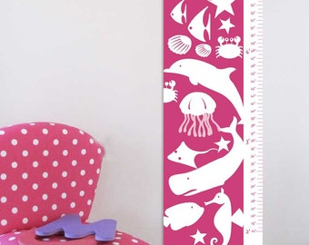 "Growth Chart Height Chart on Canvas- Sea Creatures- 13"" X42"" Inches"