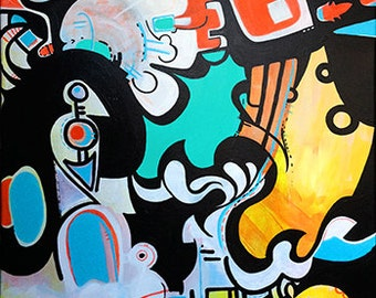 New City, Collaborative Abstract Painting