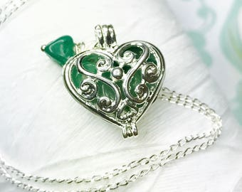 Worry Locket - Green Adventurine heart locket / heart locket / silver locket / May necklace / raw uncut adventurine/ locket