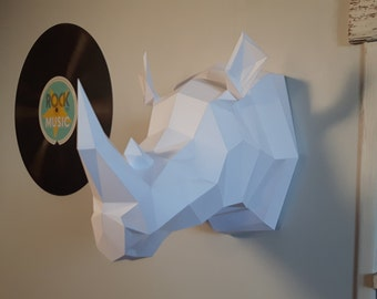 Trophy Rhinoceros (Papercraft animal/Origami) paper decoration DIY KIT!
