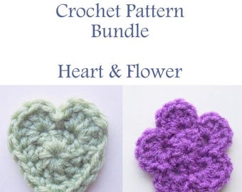 Applique Pattern Bundle, Instant Download PDF, Heart Pattern, Appliques Pattern, Embellishment Pattern, Flower Pattern, Easy Crochet Pattern