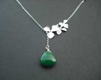 Sterling Silver Chain - tripple orchid flowers lariat with emerald greens mooth jade briolette