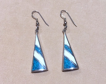 Vintage 70's Inlaid Turquoise & White Silver Triangle Earrings, White w/Turquoise Silver Striped Triangle Dangle Earrings Geometric Earrings