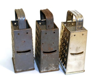 """1 Small 7"""" Tall Box Grater, Aged Metal Patina Table Kitchen Decor, Industrial Fixture, Votive Candle Holder"""
