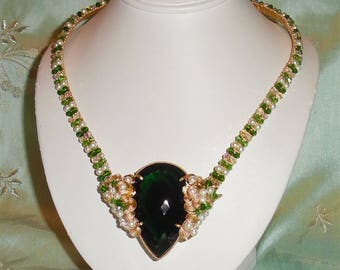 Extremely RARE Natural 199 ct Pear Green Amethyst gemstone, 14kt yellow gold and Swarovski Crystals Necklace 21""