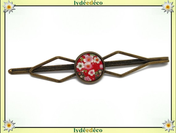 1 clip tie retro costume hair pin brass Japan sakura cherry blossom pink green red resin bronze 12mm
