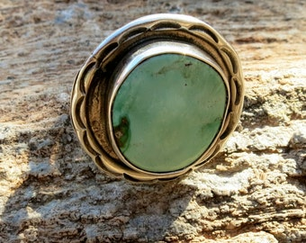 Large NAVAJO Turquoise Ring, Seafoam Green, Size 7,  Sterling Silver