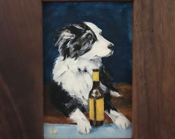 """Framed small Original Oil Painting, """"Thirsty Pup"""" by Lori, Dog Animal Art"""