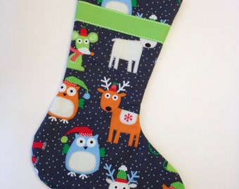 Made to Order - Charcoal Grey Animal Christmas Stocking with Neon Green Lining