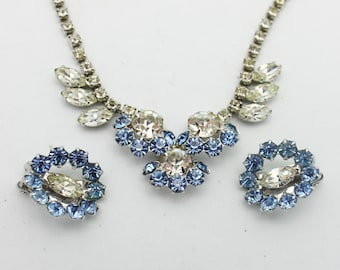 Vintage Necklace Set Baby Blue and Clear Rhinestones
