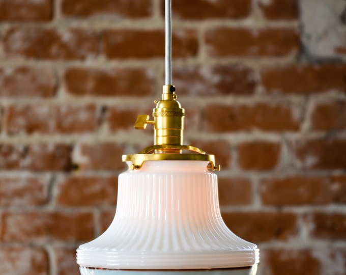 Pendant Lighting Gold Brass - 9in. Deco Opal White Turquoise Blue Painted Banding Glass Globe - Canopy Mount Edison Bar