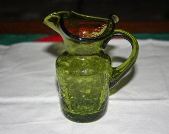 Vintage Green Crackle Glass Pitcher Miniature or Window Pitcher Hand Blown Glass Knick Knack Pilgrim Glass Co Art Glass