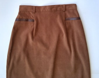 70s Vintage High Waisted Brown Faux Suede Pencil Skirt, Sz 3/4, Vice Versa, Made in Canada, High Waist, Suede Skirt, Long Skirt, Maxi Skirt