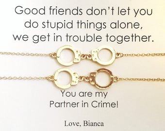 PARTNERS IN CRIME Double Gold Necklace, Partners in Crime Necklace Card, Handcuff Gold Necklace, Friendship Gold Necklace, Friends Handcuff