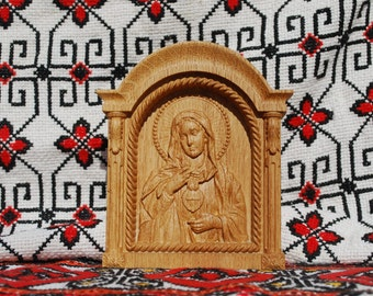 "Immaculate Heart of Mary Wood Carved Religious icon Christmas gifts for women 5""x6"""