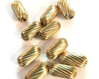 Gold tone Rectangle Beads Set of 10