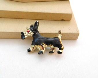 Vintage Black Enamel Gold Tone Scottie Dog Figural Brooch Pin M43