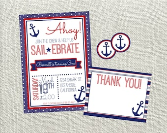 Ahoy! Nautical Birthday Invitation. Red & Blue Nautical Invitation Package. Invitation, Thank You Card, and Envelope Seal. You Print.