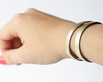 Leather Bracelet / Double Strand Cuff / Platinum Metallic