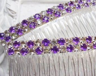 Pair of Amethyst color and Clear Checkerboard rhinestones Hair Jewelry Side Hair comb pair, purple side combs, purple combs, hair combs