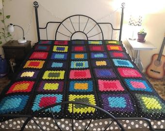 Handmade Crochet Granny Square afghan, Blanket, Throw
