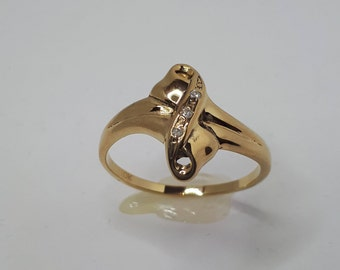 Gold Bow Ring, Bow Ring, Women Yellow Gold, Yellow Gold Ring, Diamond Ring, Infinity Ring, Women Gold, Ring Bow, Bow Ring Gold, Gold Ring