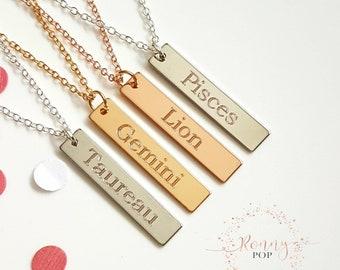 Zodiac Necklace - Zodiac Sign Jewelry - Thin Bar Engraved - Bar Necklace - Personalized Bar Necklace - Birthday Gift - Sister Necklace - V30