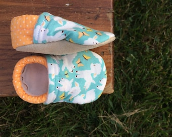 Baby Shoes for Girl or Boy - Light Blue Lamb Shoes with Orange Polka Dots - Made to Order Sizes 0-24 months 2T-4T