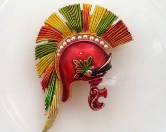 Signed ART Enamel Pearl Roman Soldiers Helmet Hat Arthur Pepper