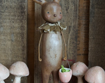 Easter, Bunny, Chocolate, Spring, Folk Art, Paperclay