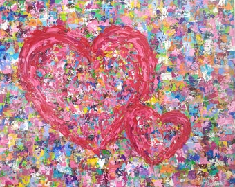 Red Heart Painting, Original Artwork on Canvas, Impasto Acrylic Painting, Modern Art, Palette Knife Colorful Wall Art Canvas, Valentine Art